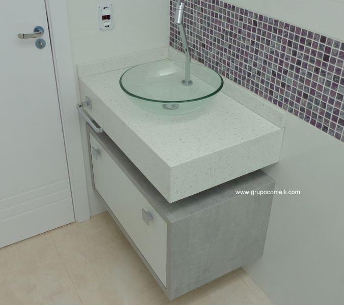 356 - Banheiro Silestone Branco Estelar