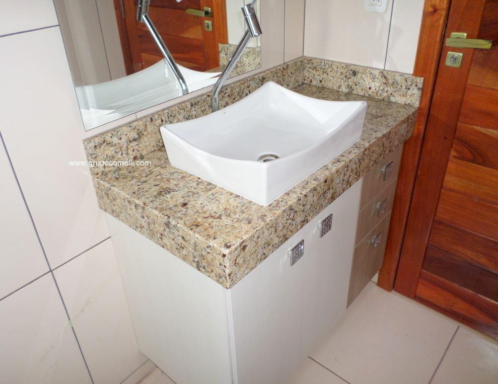 Trabalhos concluídos 02 – Lojas Comelli -> Pia De Banheiro Com Granito Ouro Brasil
