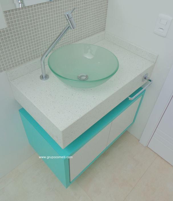 357 - Banheiro Silestone Branco Estelar